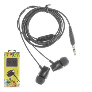 Headphone KingYou KH-12, (vacuum, black, TRRS 3.5 mm)