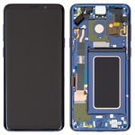 LCD compatible with Samsung G965 Galaxy S9 Plus, (dark blue, with touchscreen, with frame, Original (PRC), coral Blue, original glass)