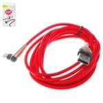 USB-кабели Baseus, USB тип-A, Lightning, 200 см, красный, с индикатором, для зарядки телефона, Г-образный, в нейлоновой оплетке, 1,5А, #CALMVP-E09